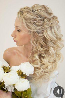 Объемные локоны из накладных волос на свадьбу