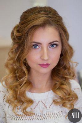 Свадебная прическа локоны и макияж